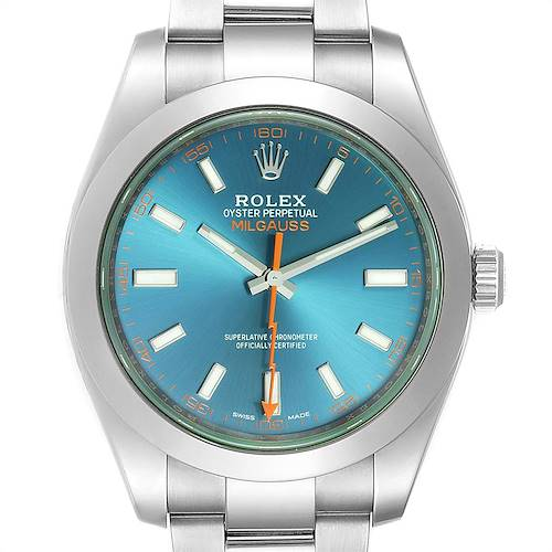 Photo of Rolex Milgauss Blue Dial Green Crystal Mens Watch 116400 Box Card