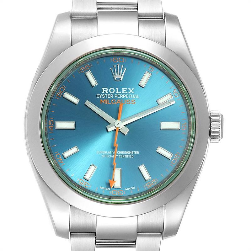 Rolex Milgauss Blue Dial Green Crystal Steel Mens Watch 116400 Box Card SwissWatchExpo