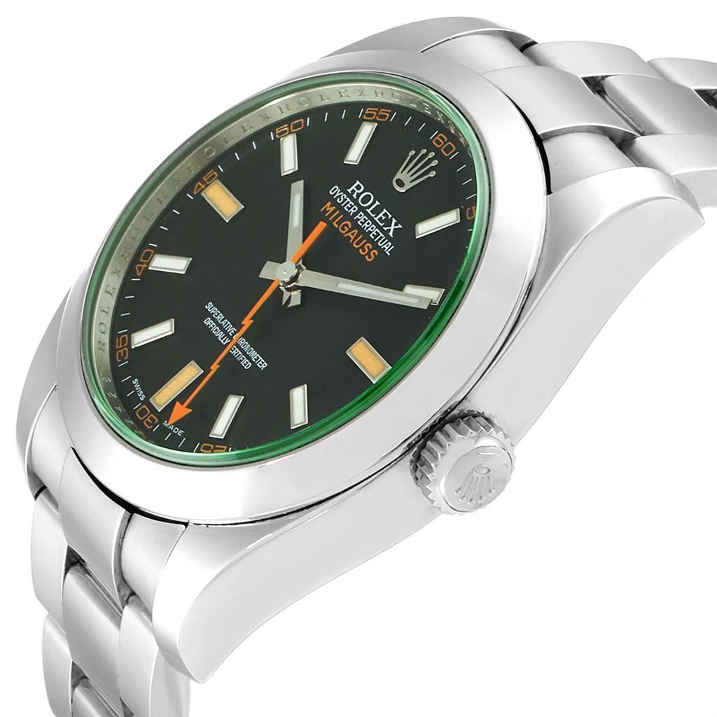 Rolex Milgauss Black Dial Green Domed Bezel Crystal Mens Watch 116400GV SwissWatchExpo