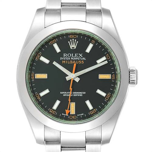 Photo of Rolex Milgauss Black Dial Green Domed Bezel Crystal Mens Watch 116400GV