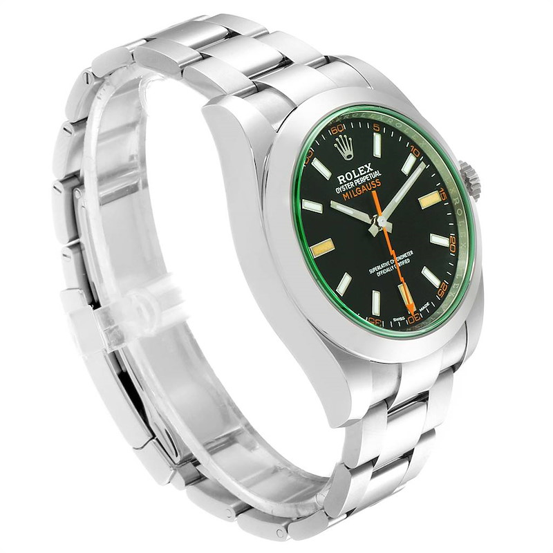 Rolex Milgauss Green Crystal Steel Mens Watch 116400V Unworn SwissWatchExpo