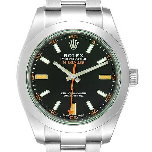 Photo of Rolex Milgauss Green Crystal Steel Mens Watch 116400V Unworn