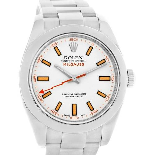 Photo of Rolex Milgauss White Dial 40mm Steel Mens Watch 116400
