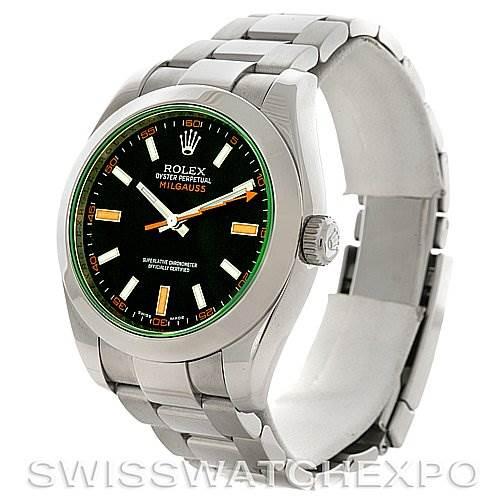 Rolex Milgauss Black Dial Domed Bezel Green Crystal Oyster Bracelet 116400V