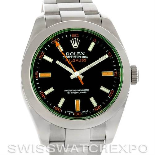 Photo of Rolex Milgauss Black Dial Domed Bezel Green Crystal Oyster Bracelet 116400V