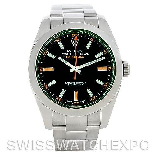 Rolex Milgauss Green Crystal Watch 116400V SwissWatchExpo