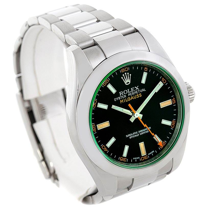 6328 Rolex Milgauss Green Crystal Mens Watch 116400V SwissWatchExpo