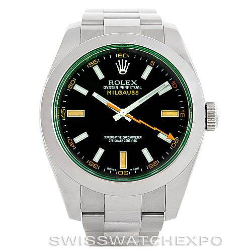 Rolex Milgauss Green Crystal Mens Watch 116400V SwissWatchExpo