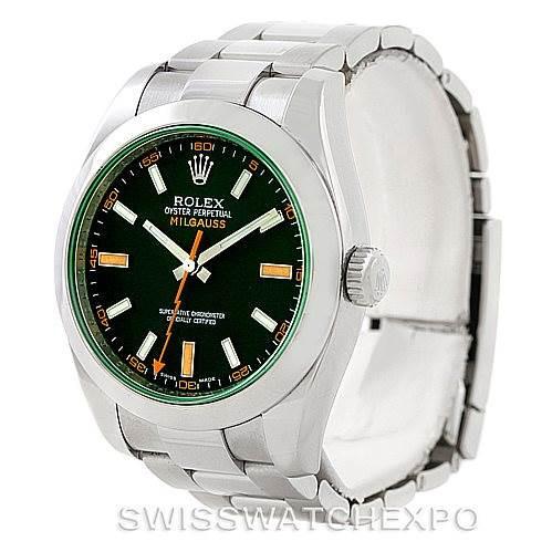 Rolex Milgauss Green Crystal Mens Watch 116400V SwissWatchExpo