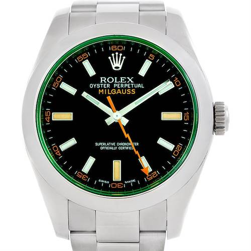 Photo of Rolex Milgauss Green Crystal Mens Watch 116400V