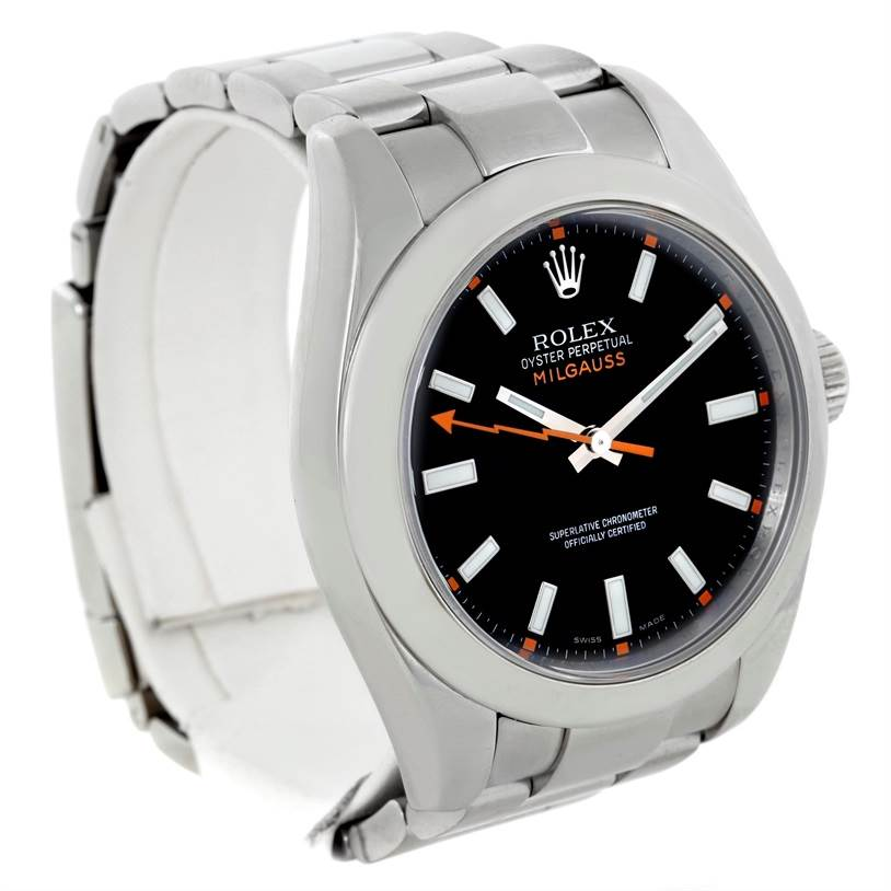 Rolex Milgauss Stainless Steel Black Dial Mens Watch 116400 SwissWatchExpo