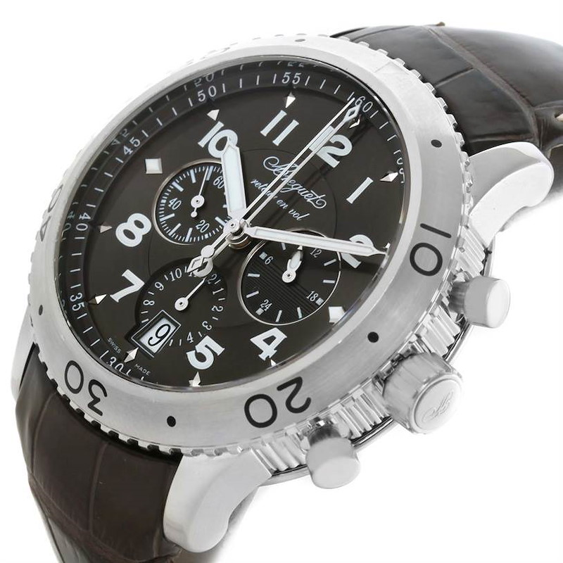 Breguet Transatlantique Type XXI Flyback Ruthenium Dial Watch 3810ST/92/9ZU SwissWatchExpo