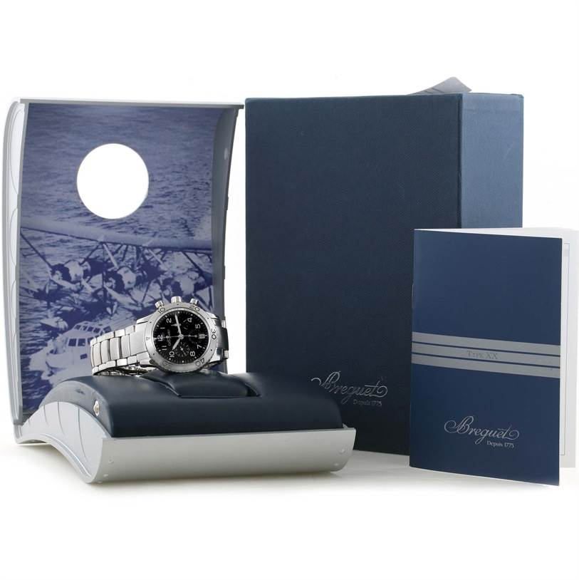 11699 Breguet Transatlantique Type XX Flyback Watch 3820ST/H2/SW9 Box Papers SwissWatchExpo