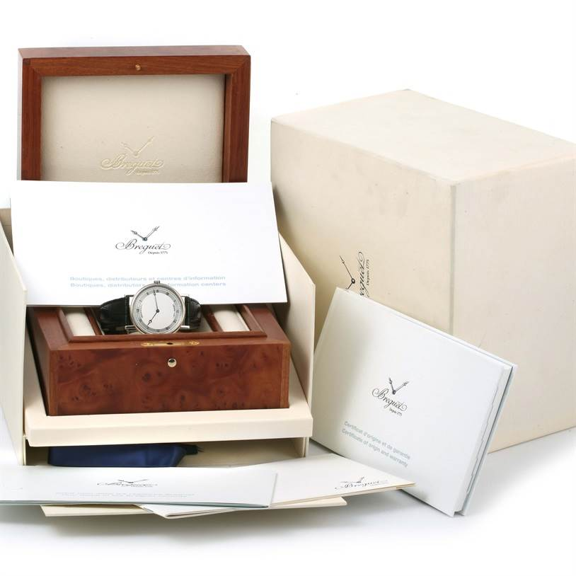 12857 Breguet Classique 18K White Gold Ultra Thin Watch 5157 Box Papers SwissWatchExpo