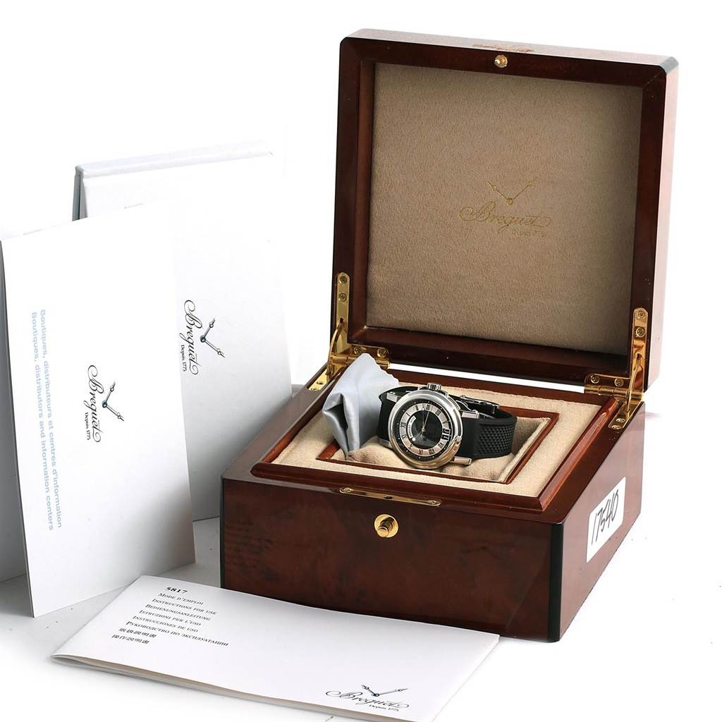 17540 Breguet Marine Big Date Automatic Steel Mens Watch 5817ST Box Papers SwissWatchExpo