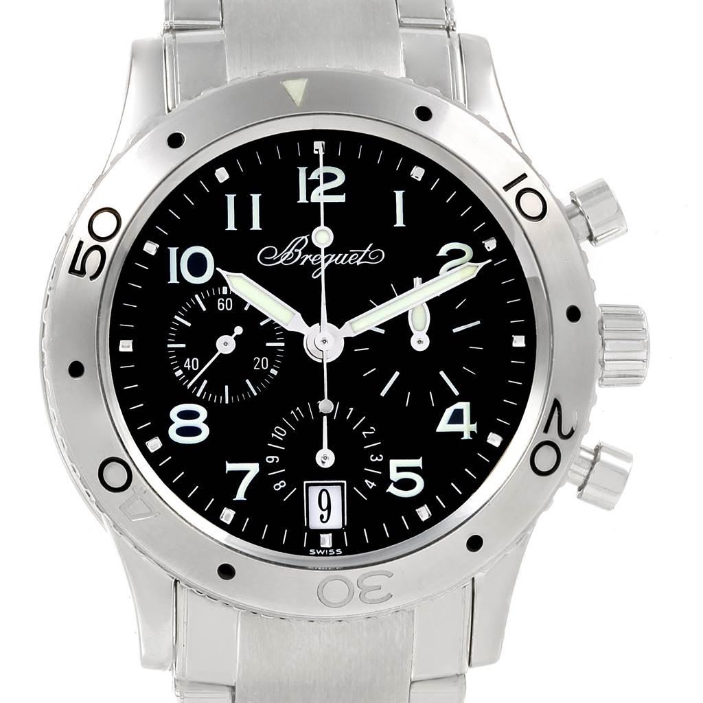 Breguet Transatlantique Type XX Flyback Black Dial Steel Watch 3820 SwissWatchExpo