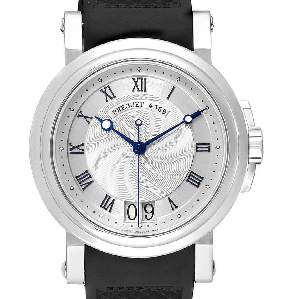 Breguet Marine Big Date Silver Dial Automatic Steel Mens Watch 5817ST SwissWatchExpo