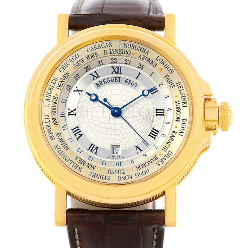 6210 Breguet Marine World Time Hora Mundi 18K Yellow Gold Watch 3700 SwissWatchExpo