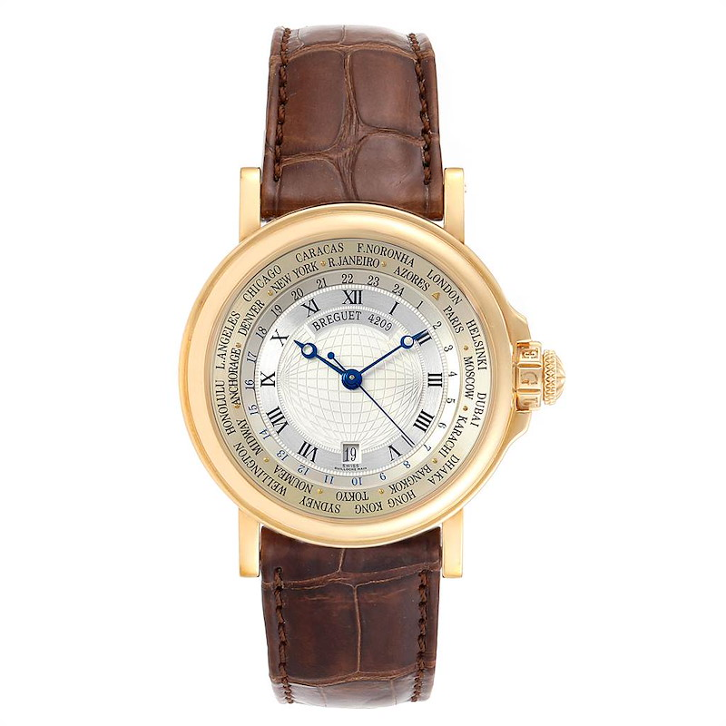 Breguet Marine World Time Hora Mundi 18K Yellow Gold Watch 3700 SwissWatchExpo