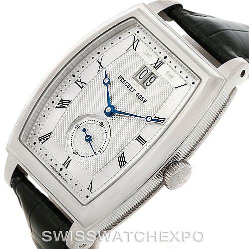8168P Breguet Heritage Big Date 18K White Gold Mens Watch 5480 SwissWatchExpo