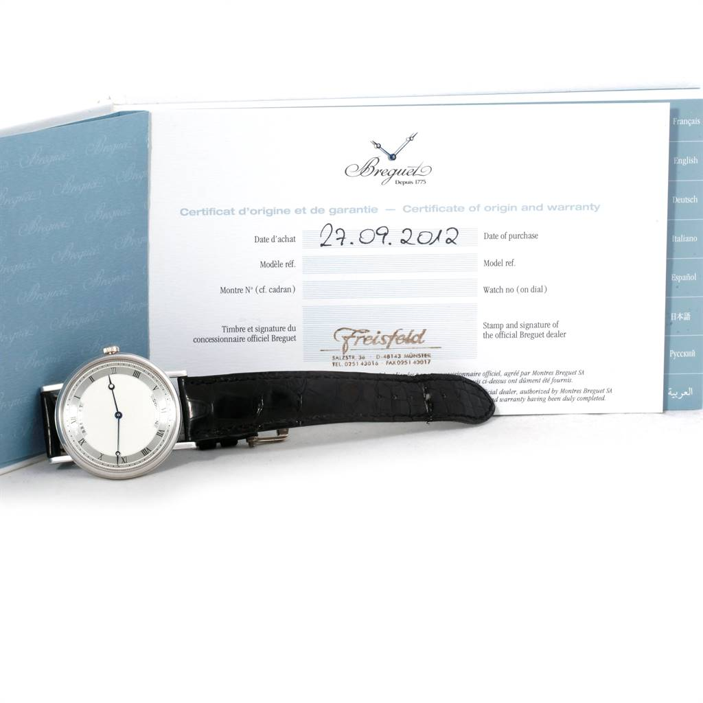 Breguet Classique 38mm White Gold Ultra Thin Automatic Mens Watch 5157 SwissWatchExpo
