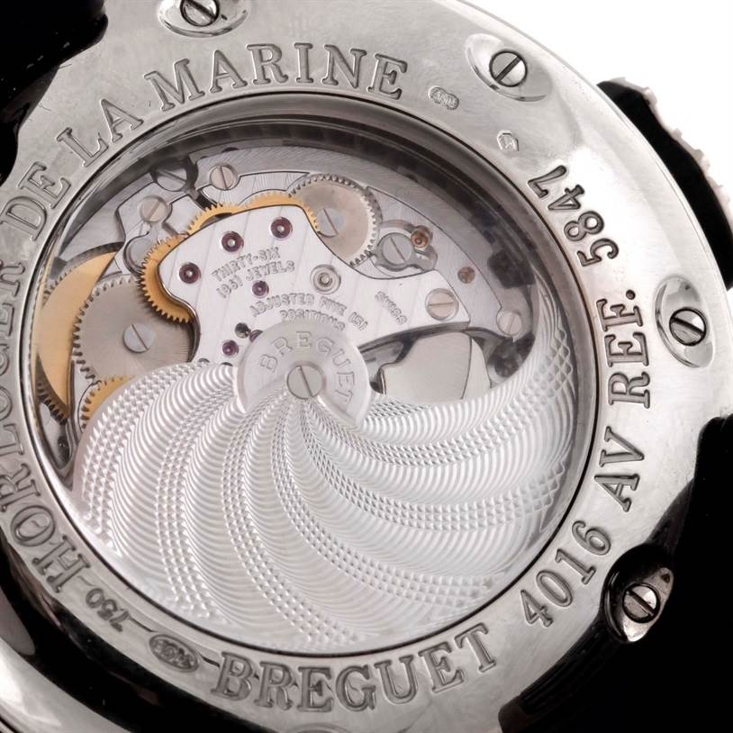 9555P Breguet Marine Royal Alarm 18K White Gold Mens Watch 5847 SwissWatchExpo