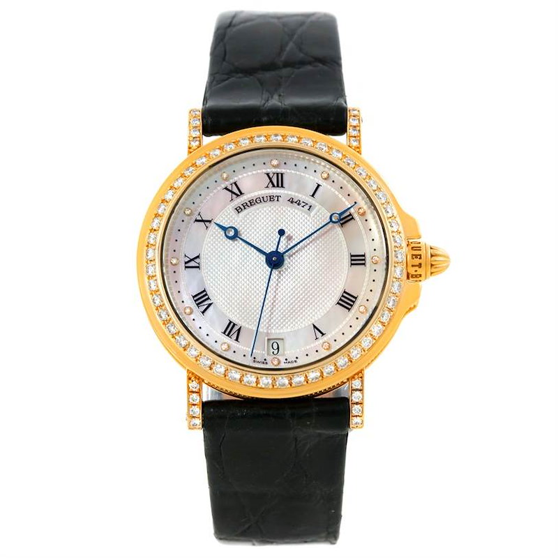 Breguet Marine Automatic Ladies 18K Yellow Gold Diamond Watch 4471 SwissWatchExpo