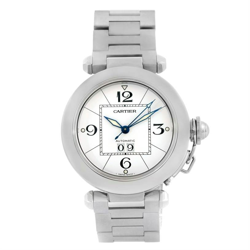 9936 Cartier Pasha C Midsize Big Date Steel Watch White Dial W31055M7 SwissWatchExpo