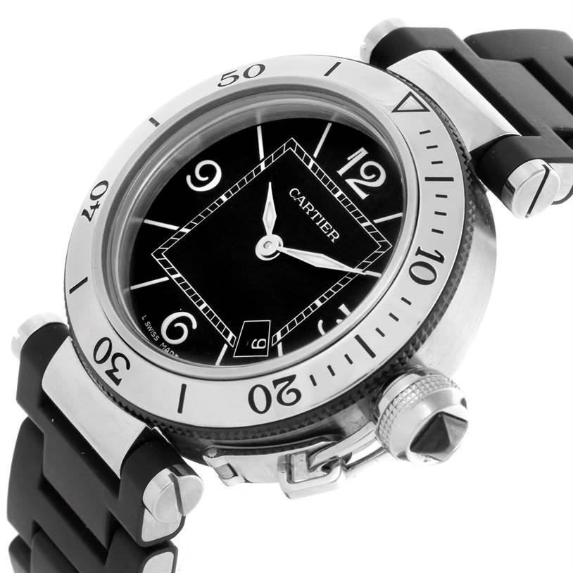 10292 Cartier Pasha Seatimer Steel Rubber Ladies Watch W3140003 SwissWatchExpo