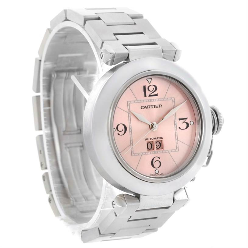 10289A Cartier Pasha Big Date Pink Dial Medium Automatic Steel Watch W31058M7 SwissWatchExpo