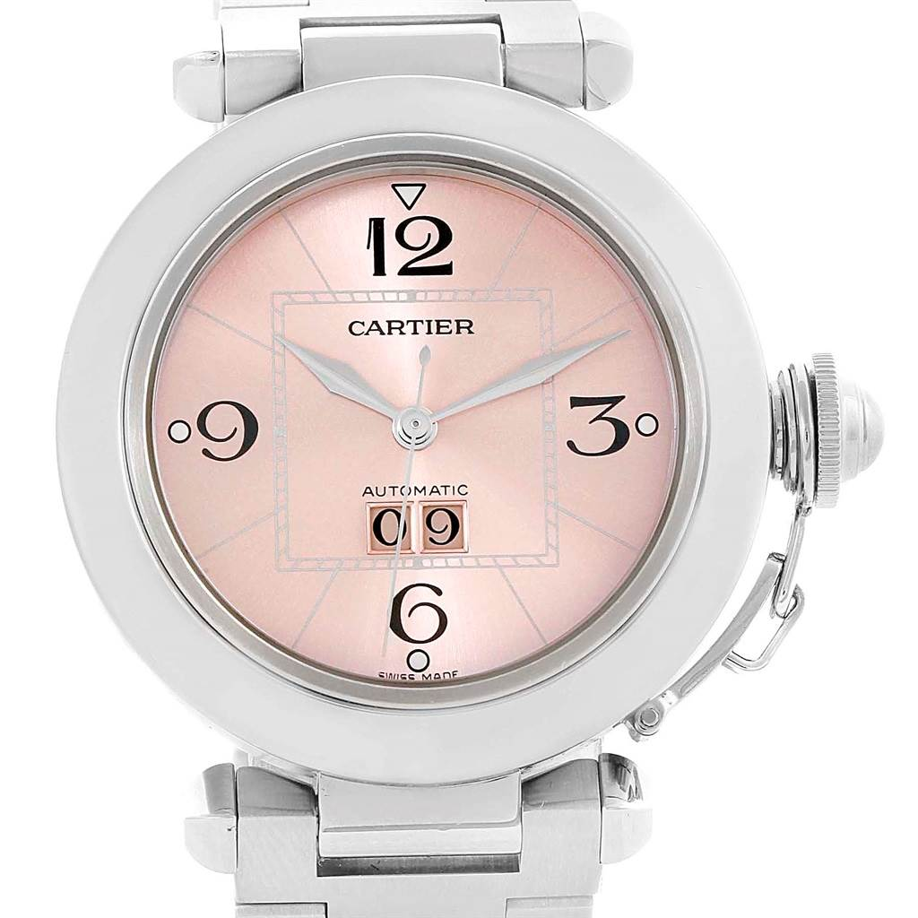 10327 Cartier Pasha Big Date Pink Dial Medium Automatic Steel Watch W31058M7 SwissWatchExpo
