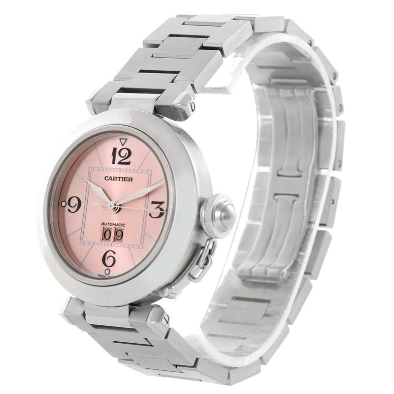 10326 Cartier Pasha Big Date Pink Dial Medium Stainless Steel Watch W31058M7 SwissWatchExpo