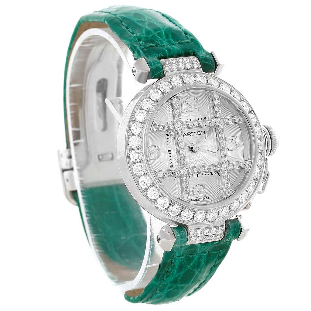 10360DP Cartier Pasha White Gold Green Strap Diamond Grid Ladies Watch WJ116136 SwissWatchExpo