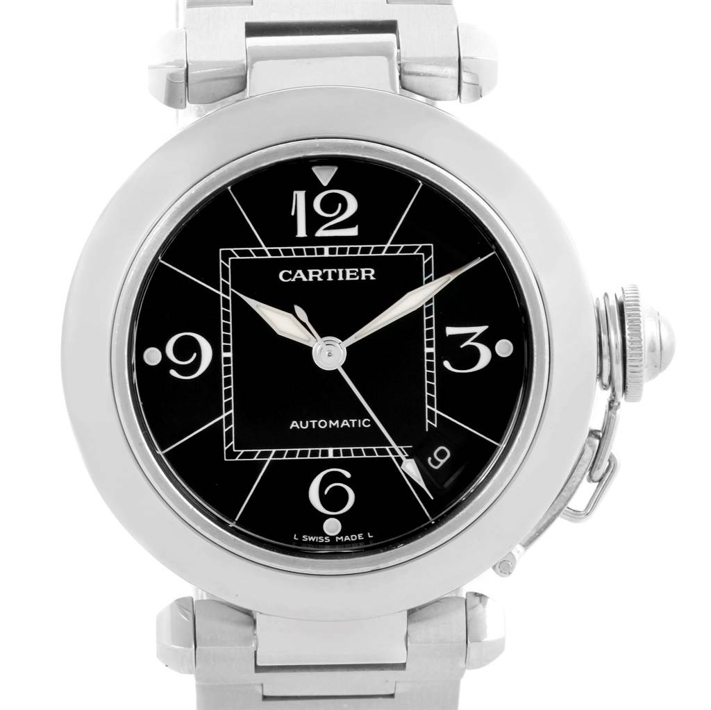 10533 Cartier Pasha C 35mm Black Dial Stainless Steel Unisex Watch W31076M7 SwissWatchExpo
