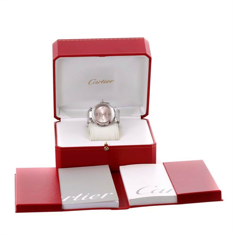 10330 Cartier Pasha Big Date Pink Dial Steel Watch W31058M7 Box Papers SwissWatchExpo
