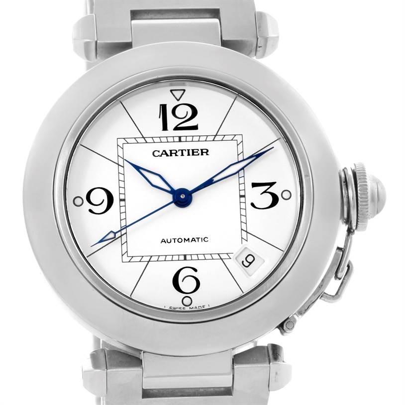 10859 Cartier Pasha C Medium Automatic White Dial Steel Watch W31074M7 SwissWatchExpo