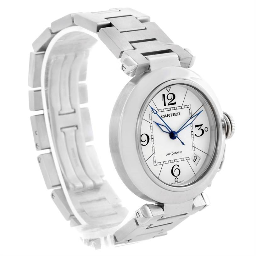 11115 Cartier Pasha C Medium Automatic White Dial Steel Watch W31074M7 SwissWatchExpo
