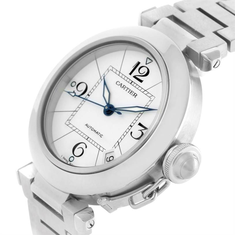 11154 Cartier Pasha C Medium Automatic White Dial Date Watch W31074M7 SwissWatchExpo