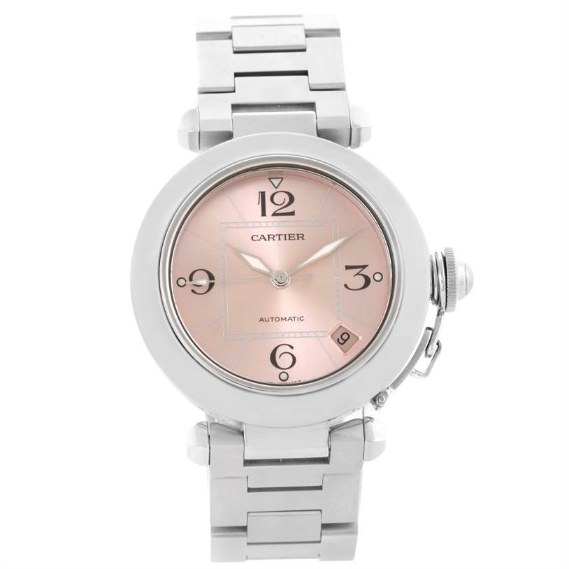 10929 Cartier Pasha C Steel Pink Dial Ladies Watch W31075M7 SwissWatchExpo