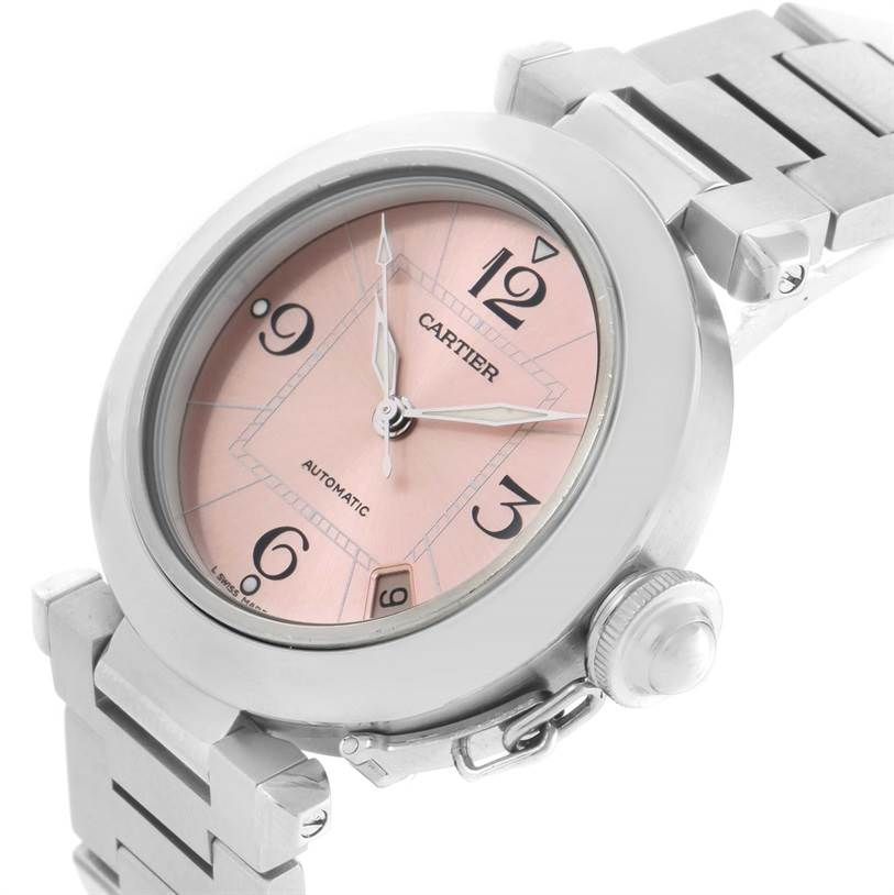 11138 Cartier Pasha C Stainless Steel Pink Dial Ladies Watch W31075M7 SwissWatchExpo