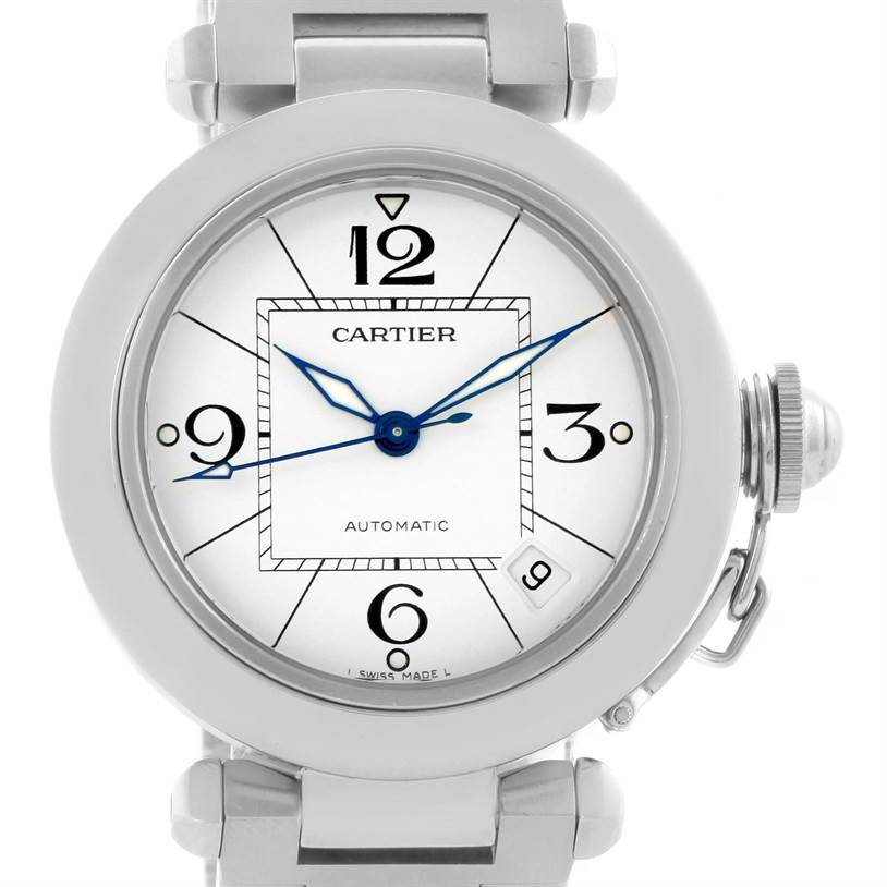 11686 Cartier Pasha C Medium White Dial Steel Unisex Watch W31074M7 SwissWatchExpo