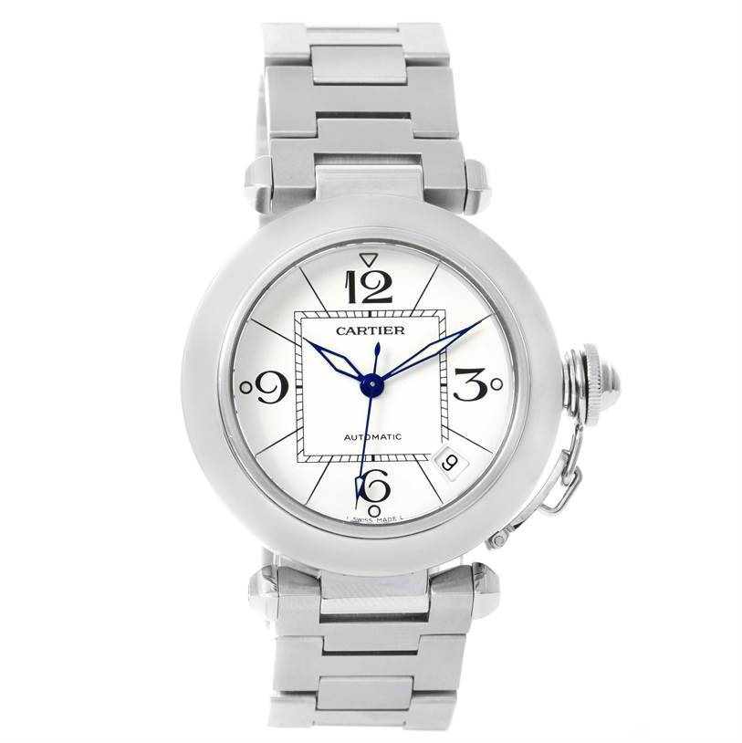 12000 Cartier Pasha C Medium Automatic White Dial Date Watch W31074M7 SwissWatchExpo