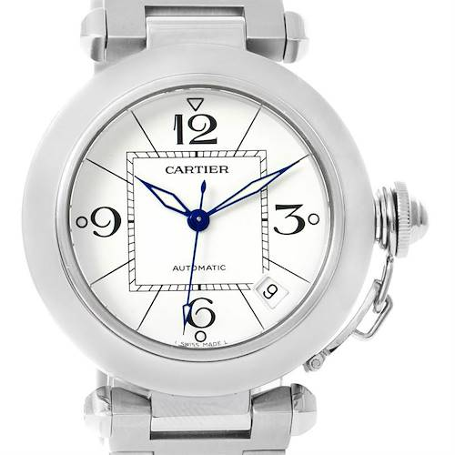 Photo of Cartier Pasha C Medium Automatic White Dial Date Watch W31074M7