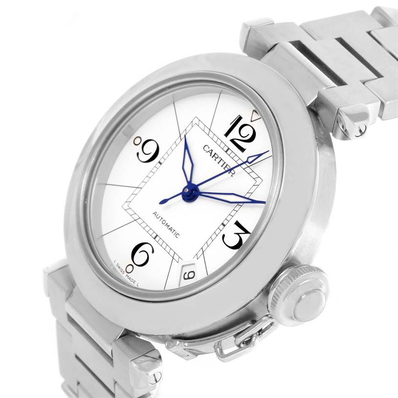 12432 Cartier Pasha C Medium Stainless Steel Bracelet Date Watch W31074M7 SwissWatchExpo