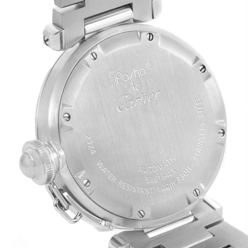 12432 Cartier Pasha C Medium Stainless Steel Bracelet Date Watch W31074M7 SwissWatchExpo