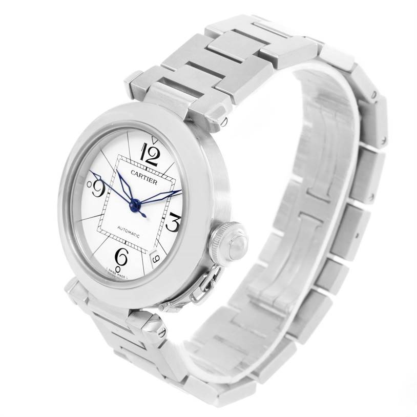 12440 Cartier Pasha C Medium Automatic White Dial Watch W31074M7 Box Papers SwissWatchExpo