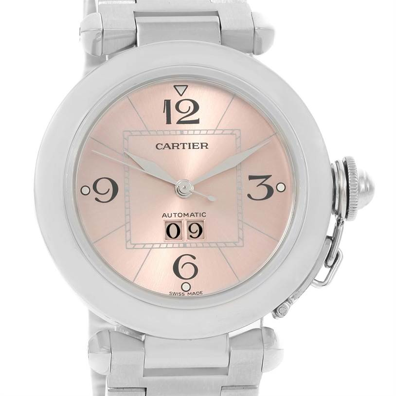 10289 Cartier Pasha Big Date Pink Dial Medium Steel Ladies Watch W31058M7 SwissWatchExpo