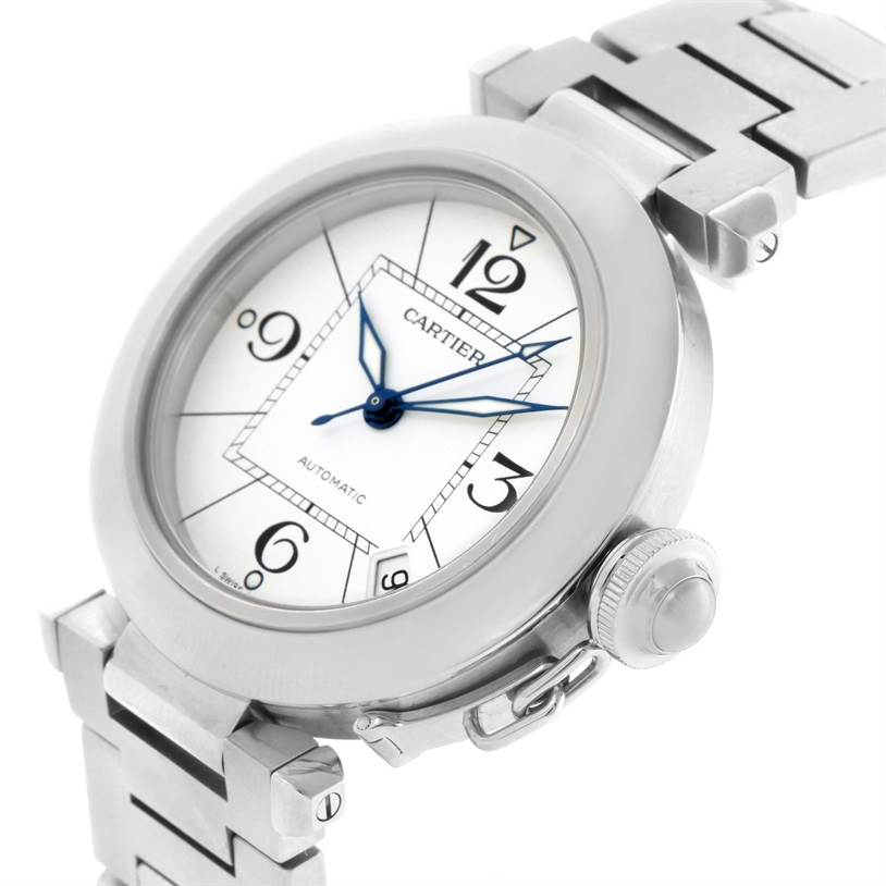 11584S Cartier Pasha C Medium Stainless Steel Bracelet Date Watch W31074M7 SwissWatchExpo