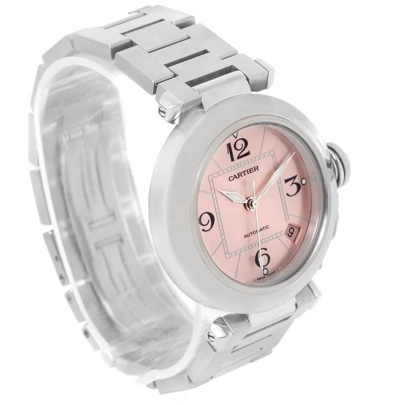 12010 Cartier Pasha C Stainless Steel Pink Dial Ladies Watch W31075M7 SwissWatchExpo