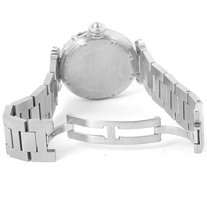 12566 Cartier Pasha C Midsize Big Date Steel Watch White Dial W31055M7 SwissWatchExpo